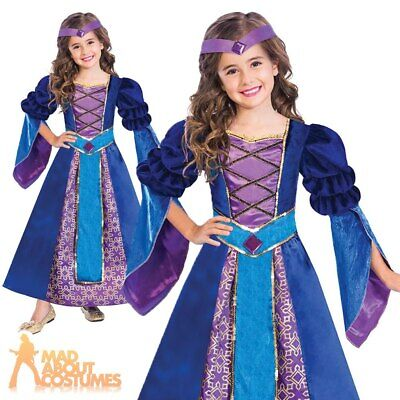 Girls Maid Marion Tudor Costume Medieval Princess Kids Fancy Dress Book Day Week
