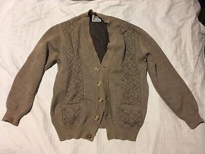 Pure New Wool Mens Cardigan Vintage Made In Australia Light Brown Heavy Quality
