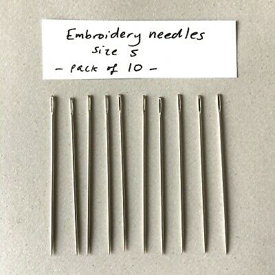 Embroidery Needles- Size 5 -  Hand Sewing- Pack Of 10- Good Quality- John James