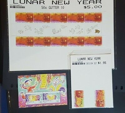 Christmas Island Year of the Pig 2001 MiniSheet,Gutter,Design Set+1995 MiniSheet