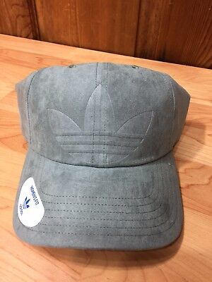 New Women s Adidas Originals Relaxed Deboss Raw Green Trefoil Strapback Hat  OSFW af546103eaff