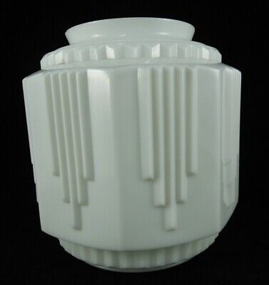 """VINTAGE Art Deco Lamp Shade Large White Milk Glass 10"""" tall Industrial Torchiere"""