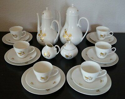 Kaffeeservice Rosenthal Romanze Weiß Gold in Dur 6 Pers. 22 tlg.