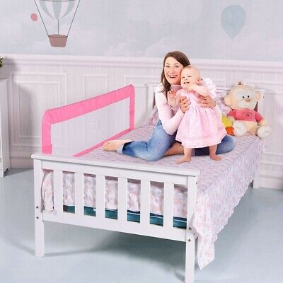 (150cm , Pink) - Costzon Toddlers Bed Rail Guard, Stainless Steel Folding