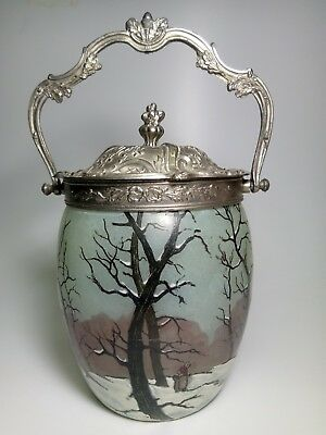 Antique French Enameled Glass Silver Plated Lid Candy Cookie Jar Basket 19th c