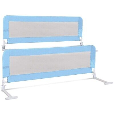 (150cm , Blue) - Costzon Toddlers Double Bed Rail Guard, Stainless Steel
