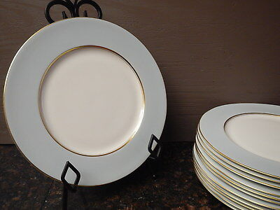 """Castleton China - Light Blue/Green with Gold - 10.5"""" Dinner Plates - Set of 12"""