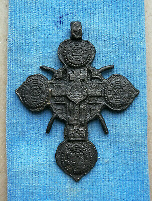 "RARE 16-17th CENTURY ORTHODOX ""OLD BELIEVERS"" ORNATE OPENWORK *SUN* SOLAR CROSS"