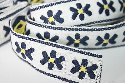 Vintage Embroidered Trim Sewing Border Retro Jacquard Sari Navy Yellow 8+ Yards