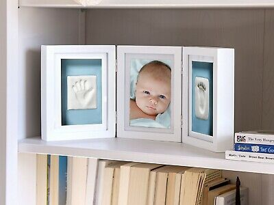 (White Deluxe Desk Frame) - Pearhead Newborn Baby Handprint and Footprint