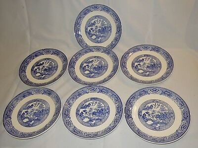 """7 Vintage Blue Willow 9 3/4"""" Dinner Plates Unmarked"""