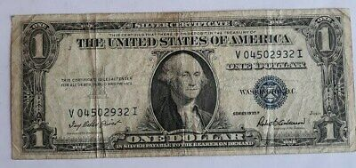 1935 F - ONE DOLLAR SILVER CERTIFICATE W/BLUE SEAL, CIRCULATED  Nice