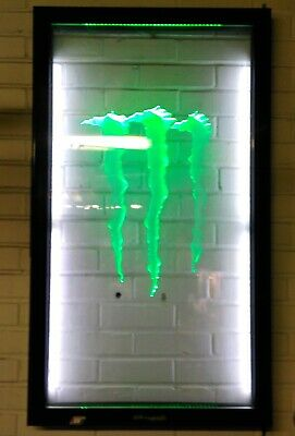 "LED Monster Energy ""M"" Wall Hanger, Garage Art, Mancave, Bar, 43""x24.5"" AWESOME!"