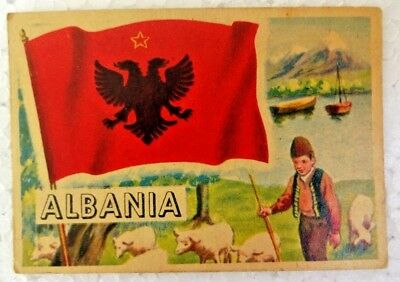 Vintage Albania 1956 Topps Flags Of The World Printed In England Collectibles
