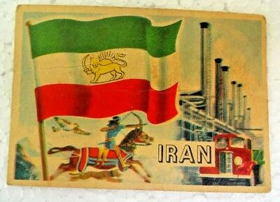 Iran Vintage 1956 Topps Flags Of The World Printed In England Rare Collectible