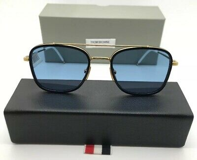 fcef36d38bc THOM BROWNE TB-807 D T NVY-GLD-45 Round Navy Frame with Brown Lens ...
