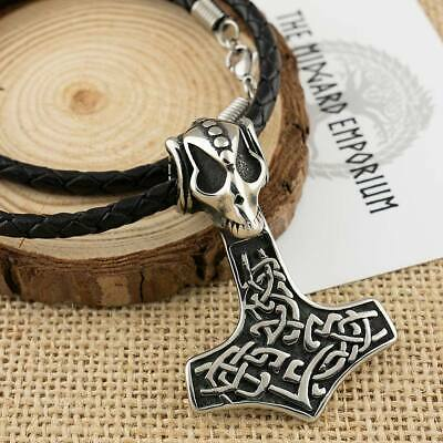 Viking Rams Skull Thors Hammer Stainless Steel Pendant With Leather Necklace