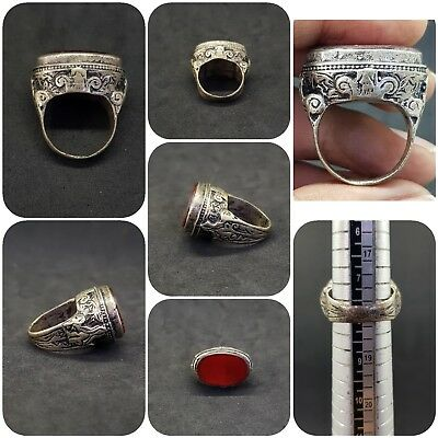 Silver plated roman ring with beautiful Red Agate stone # 5Z
