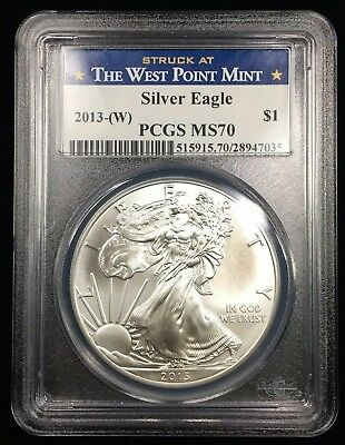 2013-(W) Silver Eagle Struck At The West Point Mint - Pcgs Ms70