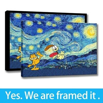 Framed Van Gogh Starry Night Painting Art Garfield and Odie Print on Canvas