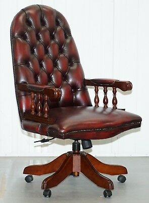 Lovely High Back Chesterfield Directors Oxblood Leather Captains Office Chair