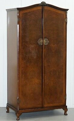 1930's Burr Walnut Double Bank Wardrobe + Pigeon Holes One Of Two Part Of Suite