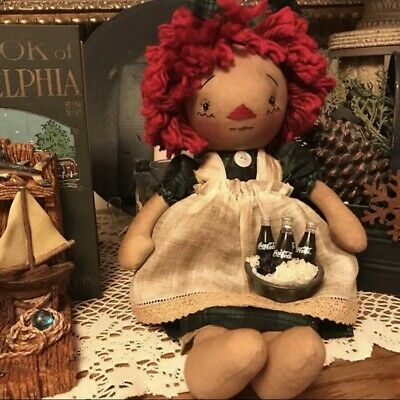 "Primitive Raggedy ANN doll~11"" Folk Art Annie~Old Vintage Look~Blk/Grn Plaid"
