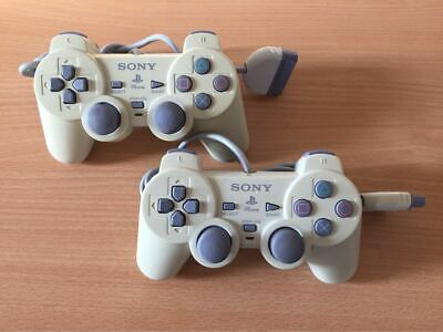 Official Sony PlayStation DualShock Controllers PS1 PSOne *TESTED* x 2 #01