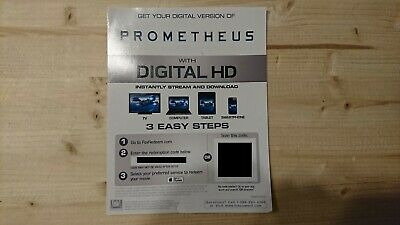 Prometheus Digital Download code from USA 4K UHD BluRay releases
