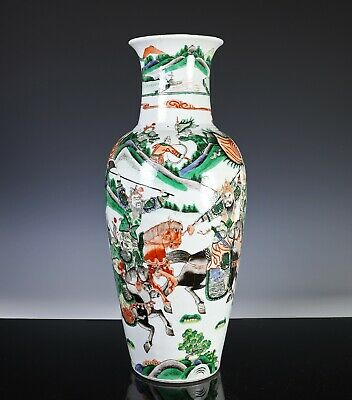 Large Antique Chinese Famille Verte Porcelain Vase with Figures and Horses