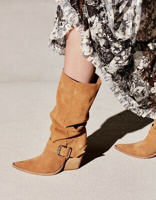 76163cb5fb09 NIB Jeffrey Campbell golden tan Suede Slouchy bought at Free People Boot 7.5
