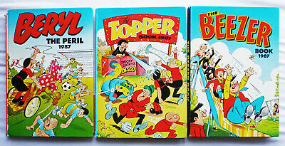 Beezer 1987 Topper 1987 Beryl The Peril 1987 x3 Comic Annuals The Numbskulls