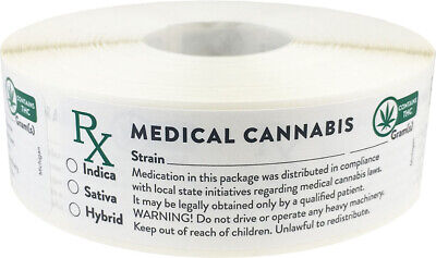 Michigan Cannabis Marijuana with THC Medical Stickers, 1 x 3 Inches, 500 Labels