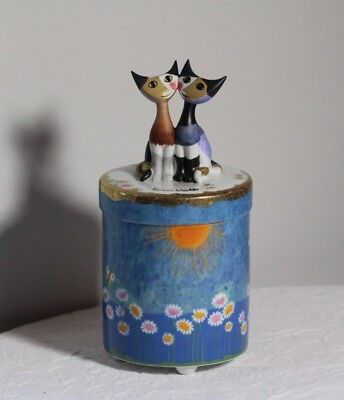 Goebel Rosina Wachtmeister Abstract Modernist Cats on Porcelain Footed Jar