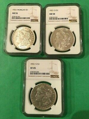 Lot Of 3 1921 Morgan Silver Dollars