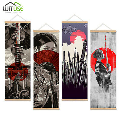 wall picture japan samurai canvas print poster with wooden hanger home art decor