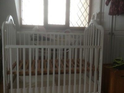 babys cot white 3 base positions good condition  collection only