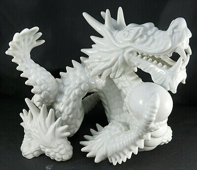 Large Chinese White Ceramic Porcelain Zodiac Year Loong Dragon Ball Statue 10""