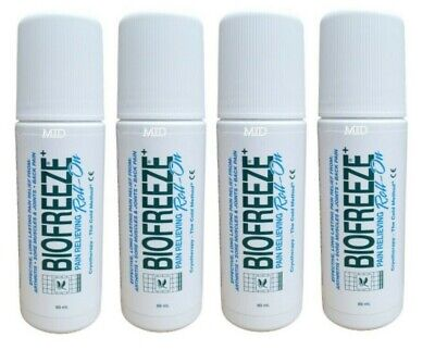 New 4 Pack Biofreeze 3 oz Roll On Gel - EU Packaging 3.5% Menthol  4-PK