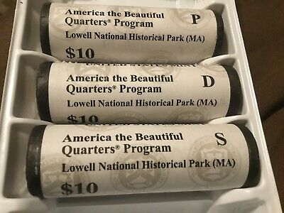 2019 Pds Lowell National Park (Ma) Three Uncirculated Quarters Set From Roll