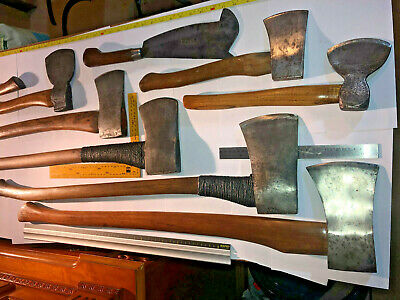 Large vintage Axe collection Job Lot wooden handle antique axes