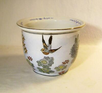 Vintage Chinese Porcelain Planter Jardiniere with Bird &  Floral Decoration
