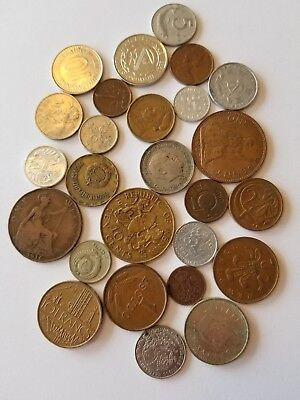 Old World Foreign Coins 24 Countries All Different Lot 1/4 pound 2 Bonus Coins!