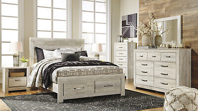NEW MORWIN 5PCS Modern Off White Wood Queen King Storage ...