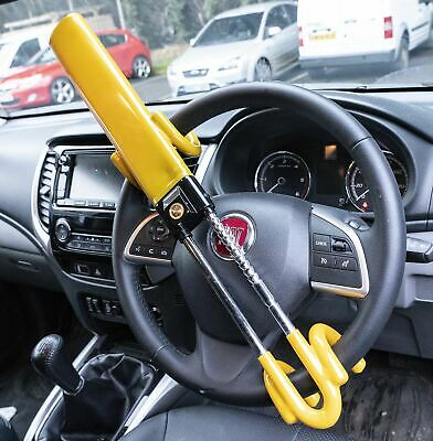 Steering Wheel Lock High Security Anti Theft Twin Bar for Fiat Panda 04-On