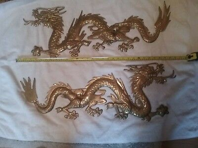 """2 Large Vintage Brass Dragons Wall Hanging30""""x11"""" made in Korea in nice cond."""