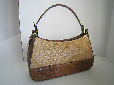 f8ca51c0d02b BRAHMIN woven leather and brown croc leather embosed hobo shoulder bag