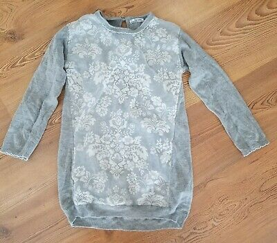 bb6d2b4afb Mayoral Girl s 7 Boutique gray sweater dress floral glitter bling soft LS