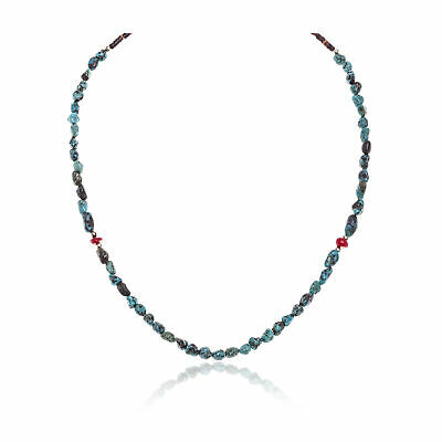 $200Tag Silver Certified Navajo Turquoise Coral Necklace Chain 371198377680