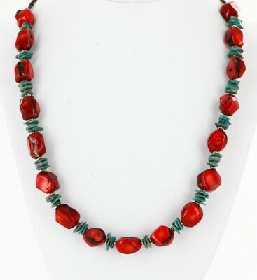 $480Tag Certified Silver Navajo Natural Turquoise Coral Native Necklace 15998